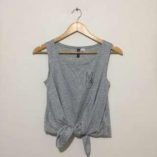 H&M TIE KNOT TOP/MUSCLE TEE