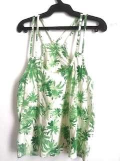 Green Coconut Trees Printed Halter Top *SALE