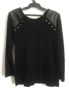 Black Long Sleeves with Leather Trimmings and Studs *SALE