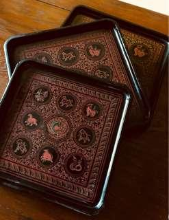 Burmese Lacquer tray (square designs)
