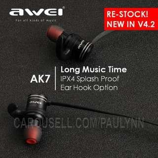 Awei AK7 Bluetooth Earphone Magnetic Power On/OFF Long Play Time