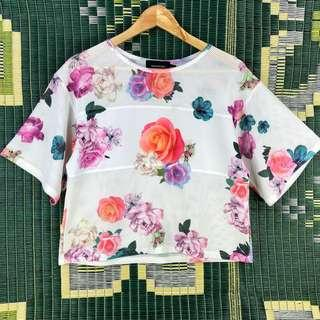 Mink Pink Top Shirt Size Small White Mesh Flowers Floral Relaxed Box Fit Dance