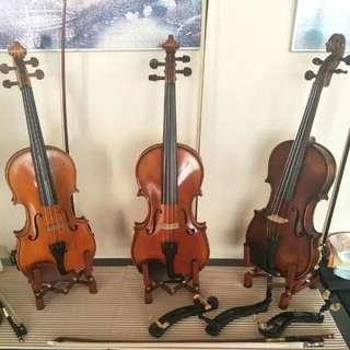 Violin Viola Stand With Bow Holder (Brown)