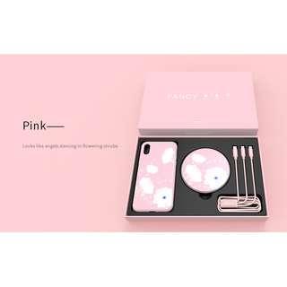 🚚 Apple Iphone Xs / X Pink Wireless Charging Set Case Fancy