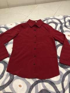 Red chiffon long sleeve top