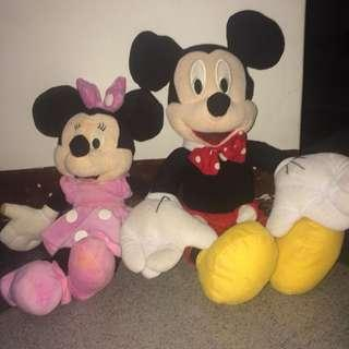 BONEKA MICKEY MOUSE & MINNIE MOUSE || preloved boneka
