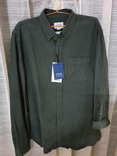 PULL & BEAR Denim shirt section army (kemeja ijo army)
