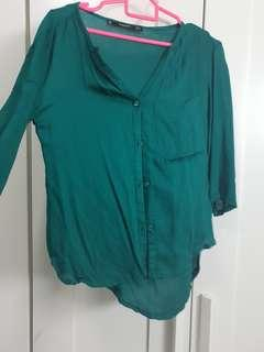 Mango Emerald Green Button Up Super Soft shirt