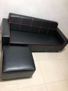 Black with red lining sofa