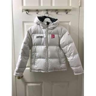 Size 0/S Mizuno White Puffy Jacket, 100% Down