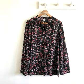 Size L (Fits XL) Bossini Elegant Red Roses Flower in Black Long Sleeve Blouse Top @sunwalker