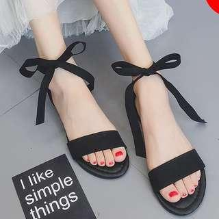Ankle straps ribbon sandals