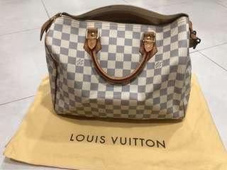 Authentic Louis Vuitton Speedy 30 Daimer Azur Canvas