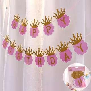 Generic Princess party supplies - pink birthday banner / party deco