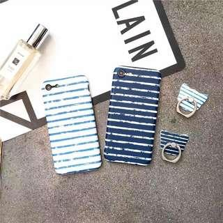 iPhone 8 Plus Blue and White Stripes Casing Phone Case