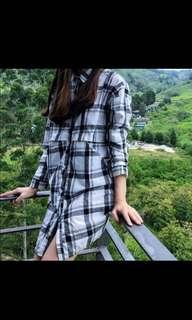 Checkered shirt dress