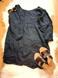 Navy Boutique Dress with Scallop Hem