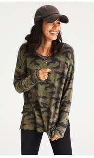 American Eagle Outfitters AEO Soft & Sexy Camouflage Army Long Sleeve Top