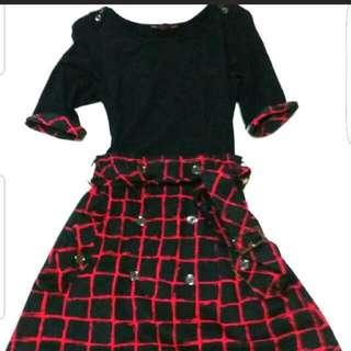 Black & Red Checkered Belted Dress UK 6