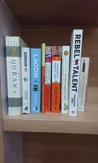 Buku lagom, buddha 101, qur'an, asia great empires, Pramoedya jejak langkah, anak semua bangsa, rebel talent, Plato's dialogue
