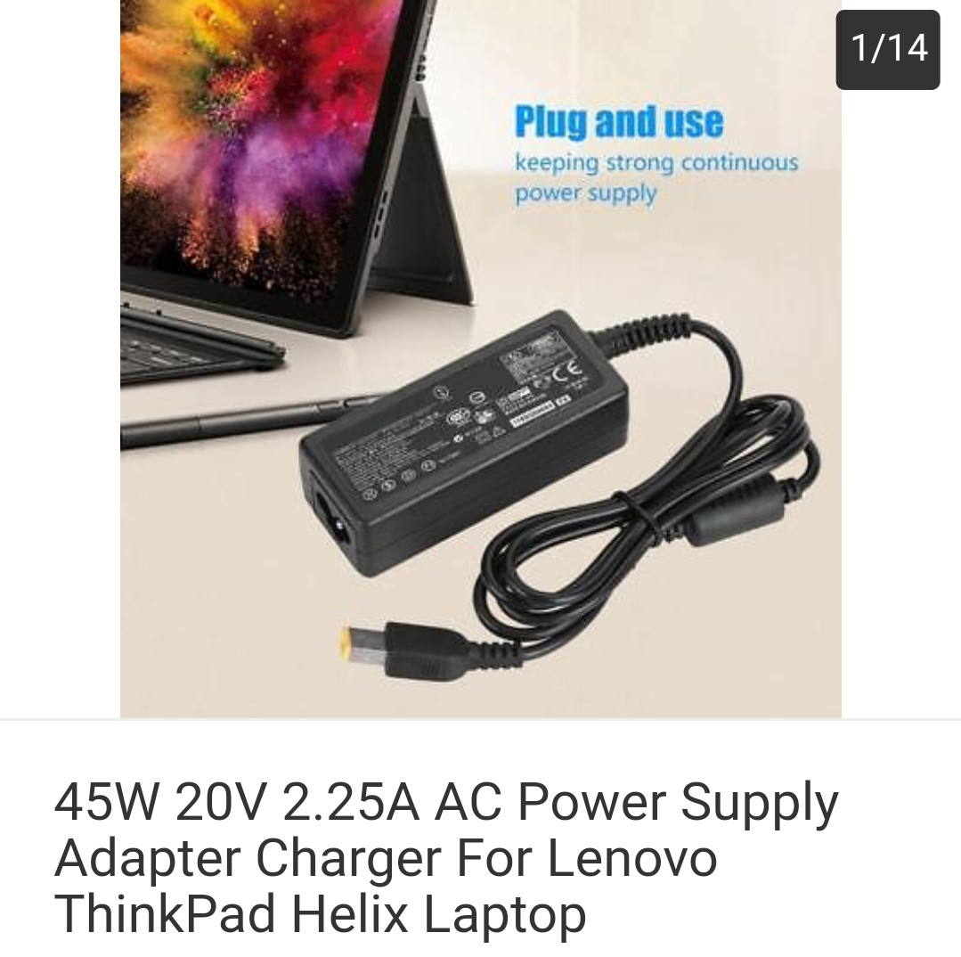 45W 20V 2 25A AC Power Supply Adapter Charger For Lenovo ThinkPad Helix  Laptop