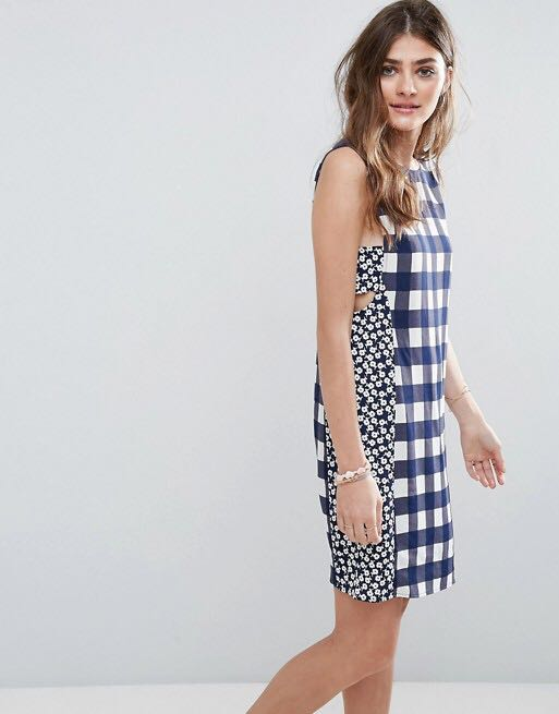 afc4a4af0c49dd ASOS Mini Dress in Gingham Mixed Print