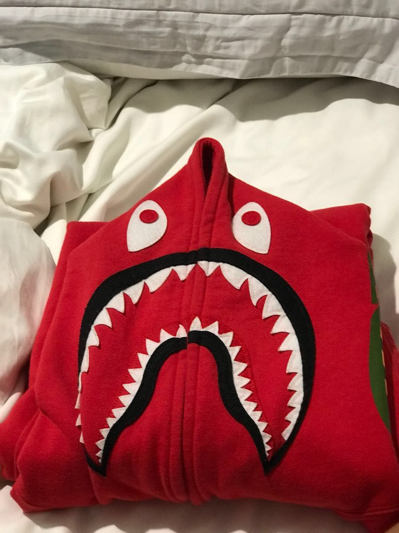 Bape Shark Hoodie Red DS Mens Fashion Clothes Outerwear On Carousell