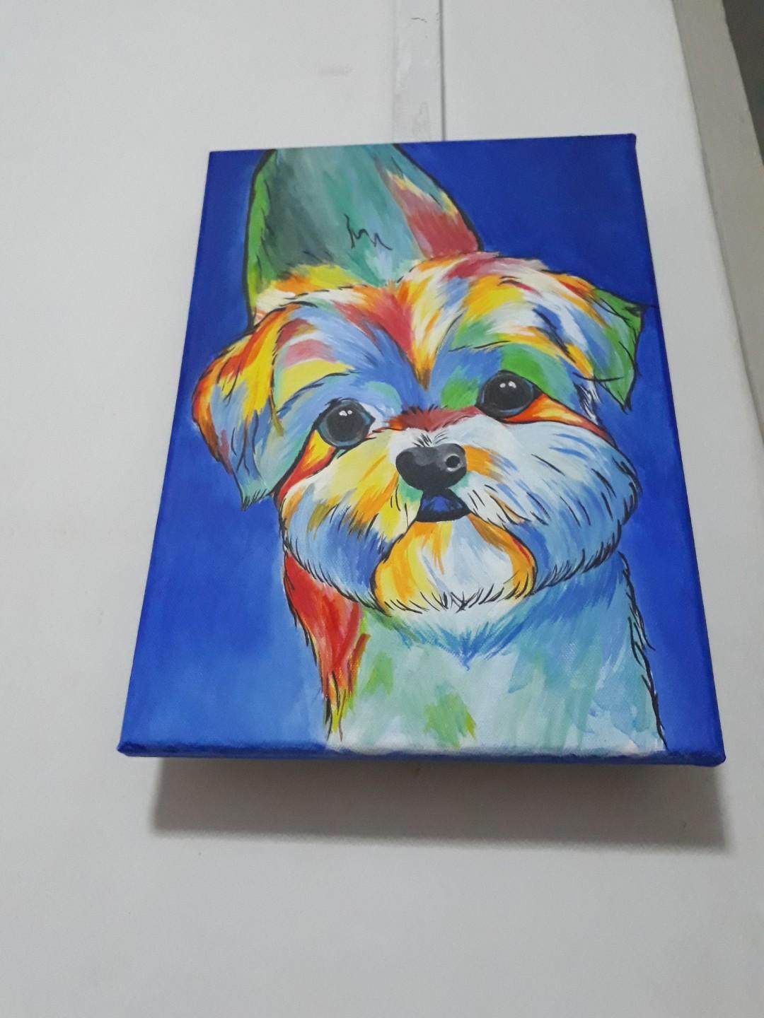 Canvas Abstract Painting Shih Tzu Puppy Dog Design Craft Art Prints On Carousell