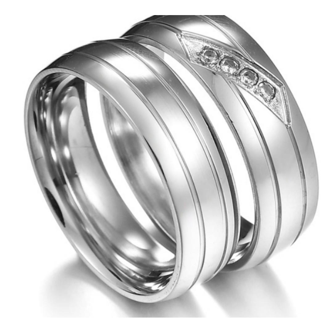 Couple Rings Silver Slashed with Free Engravement