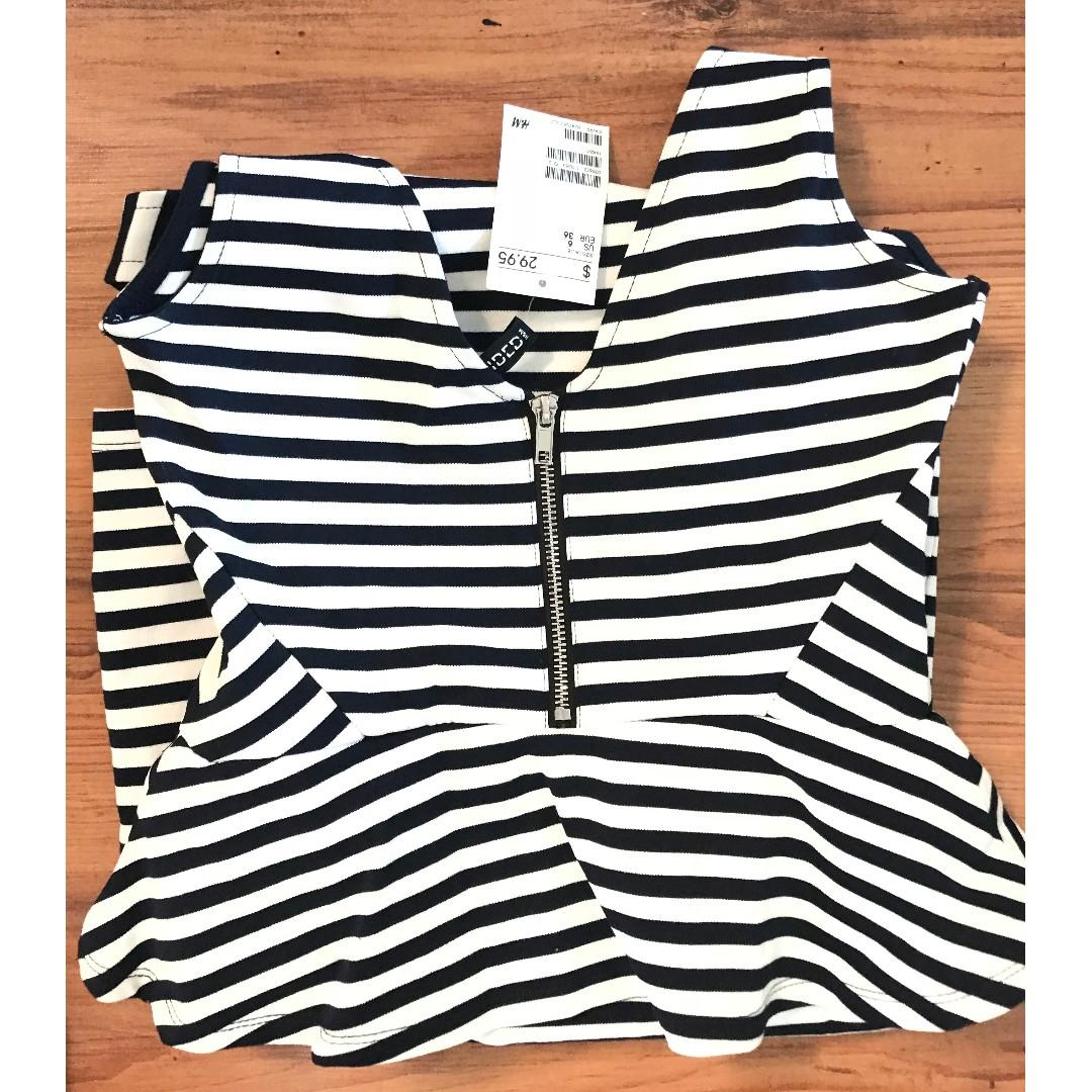 H&M Navy Blue and white striped tight peplum dress - size small
