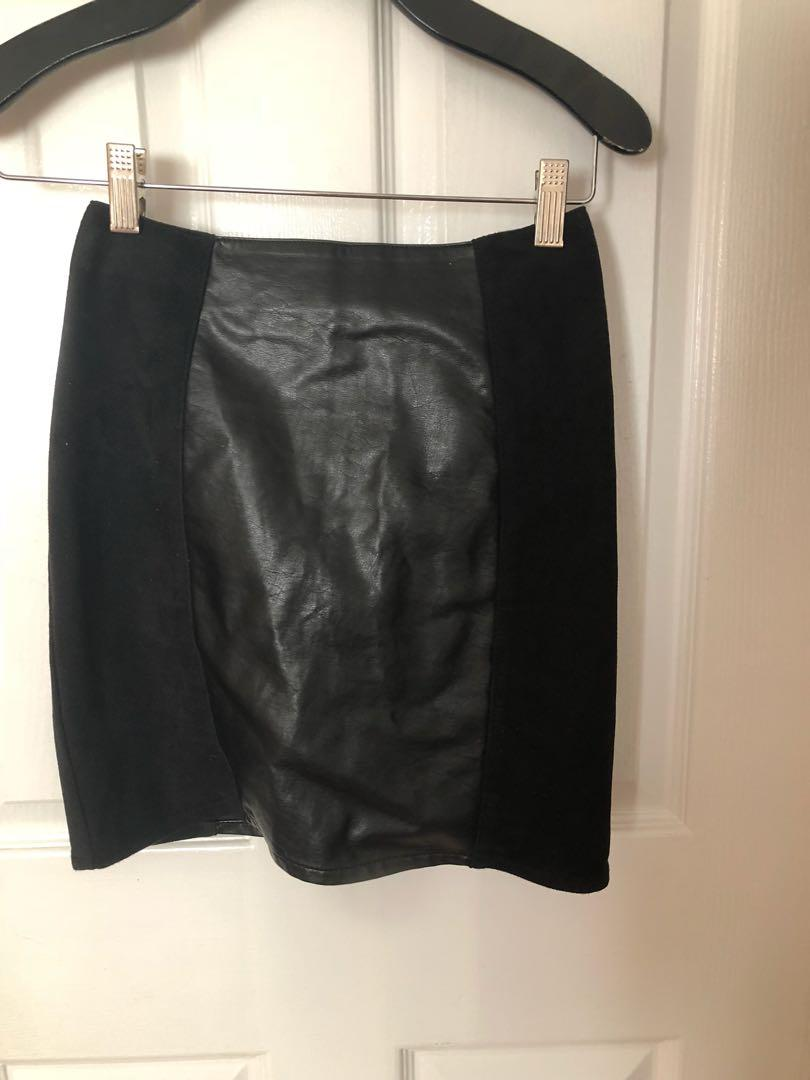 H&M suede and leather skirt