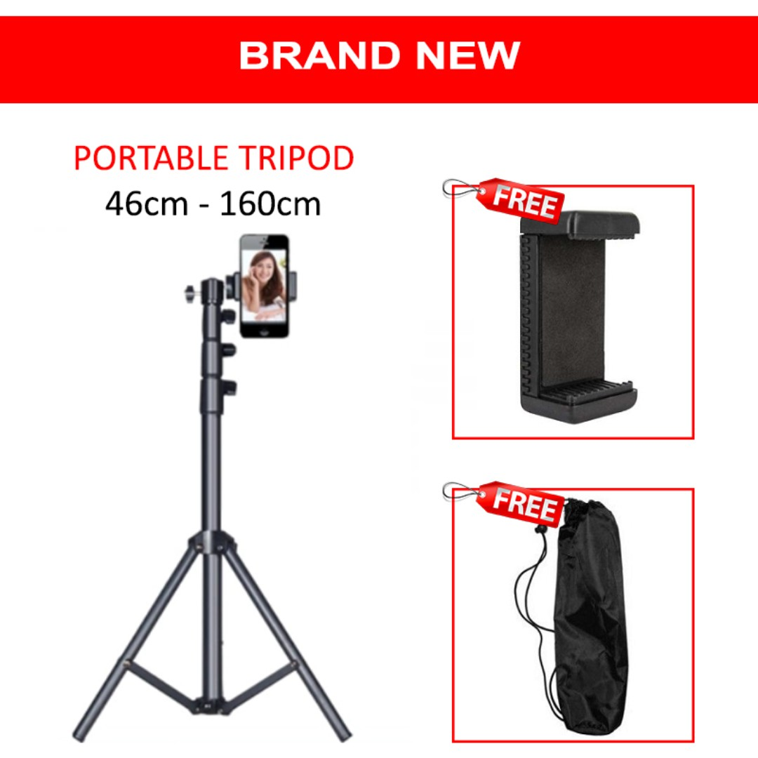 Mobile Phone Tripod Stand 46cm - 160cm, Mobiles & Tablets, Mobile & Tablet Accessories, Mobile Accessories on Carousell