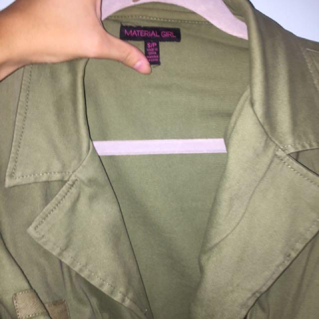 khaki jacket with pleather sleeves