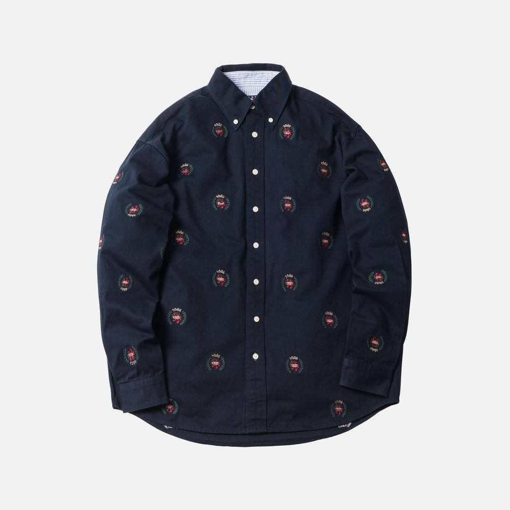 e228cd92ff KITH X TOMMY HILFIGER TWILL CREST WOVEN SHIRT - NAVY