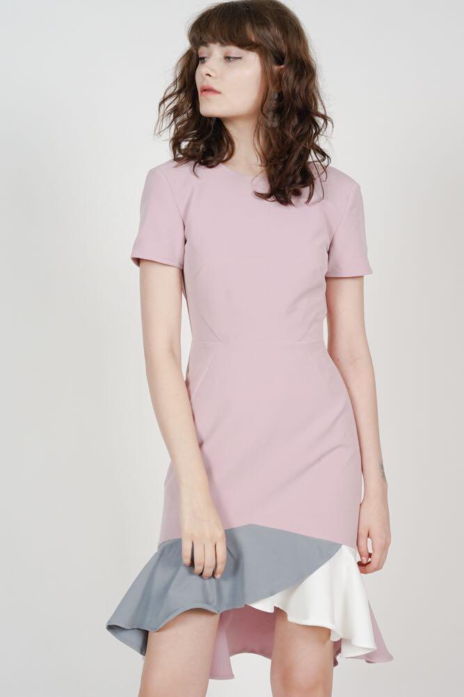 a8e5cb834d34 MDS Color-Block Mermaid Dress in Mauve, Women's Fashion, Clothes ...