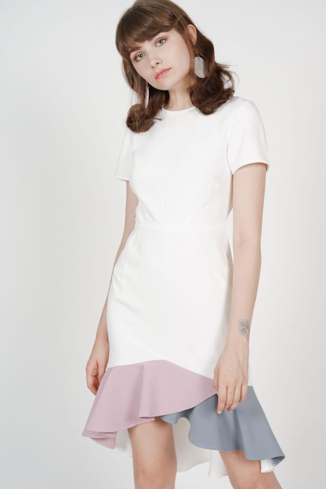 d7df3c7d488 MDS Color-Block Mermaid Dress in White