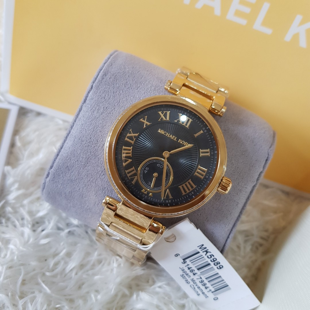 60d73e2c4378 ON HAND  Authentic Michael Kors Watches MK5989 Skylar Black   Gold ...