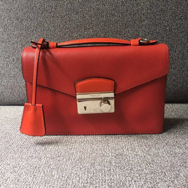 ed5fc8e51340 PRADA* Classic Saffiano Leather Flap Crossbody Bag in Red (BT0960 ...