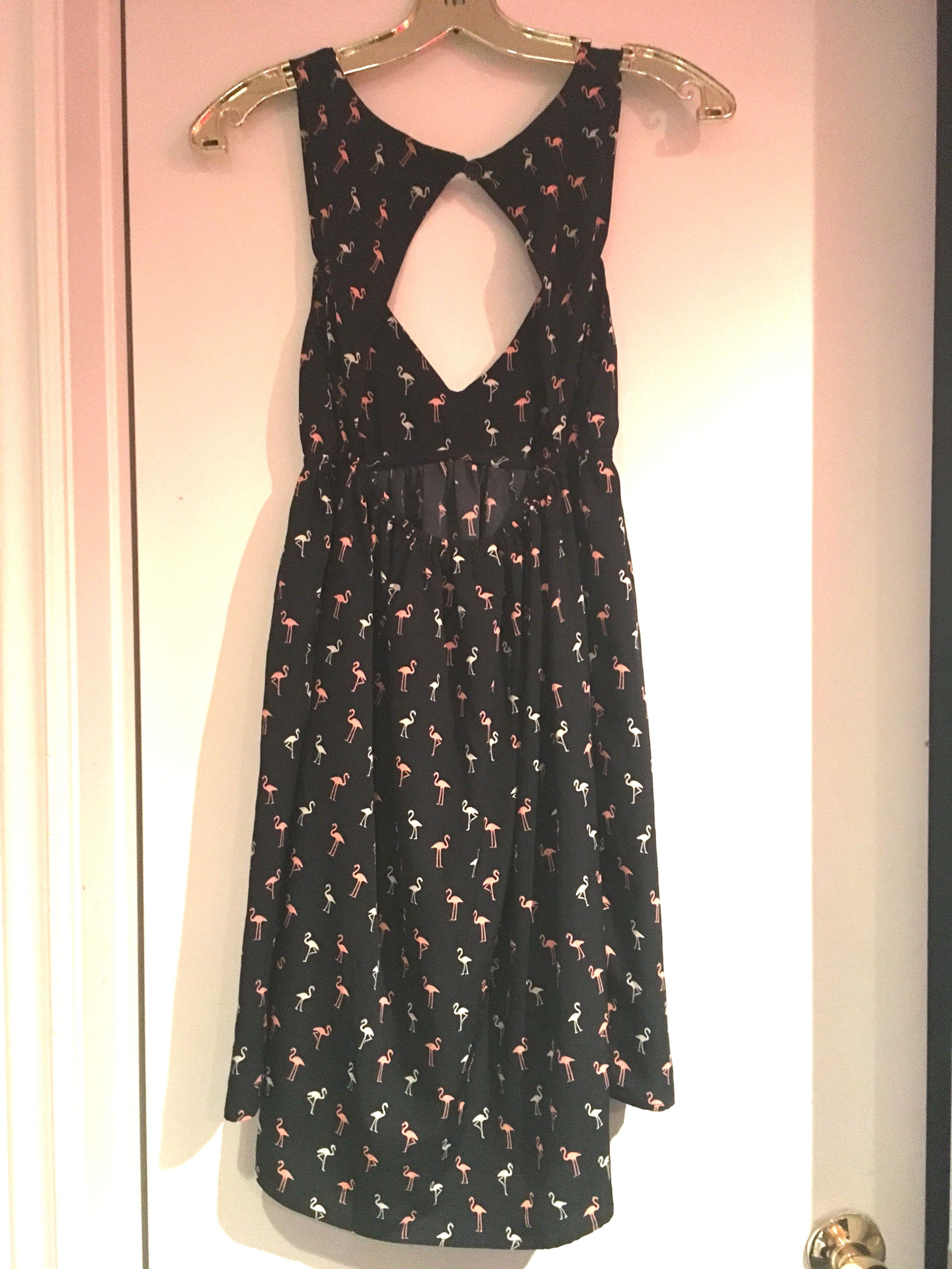 ROXY Women's Black Pink Flamingo Print Sundress Dress Cut out Back and Hi Low Hem Size - Never Been Worn