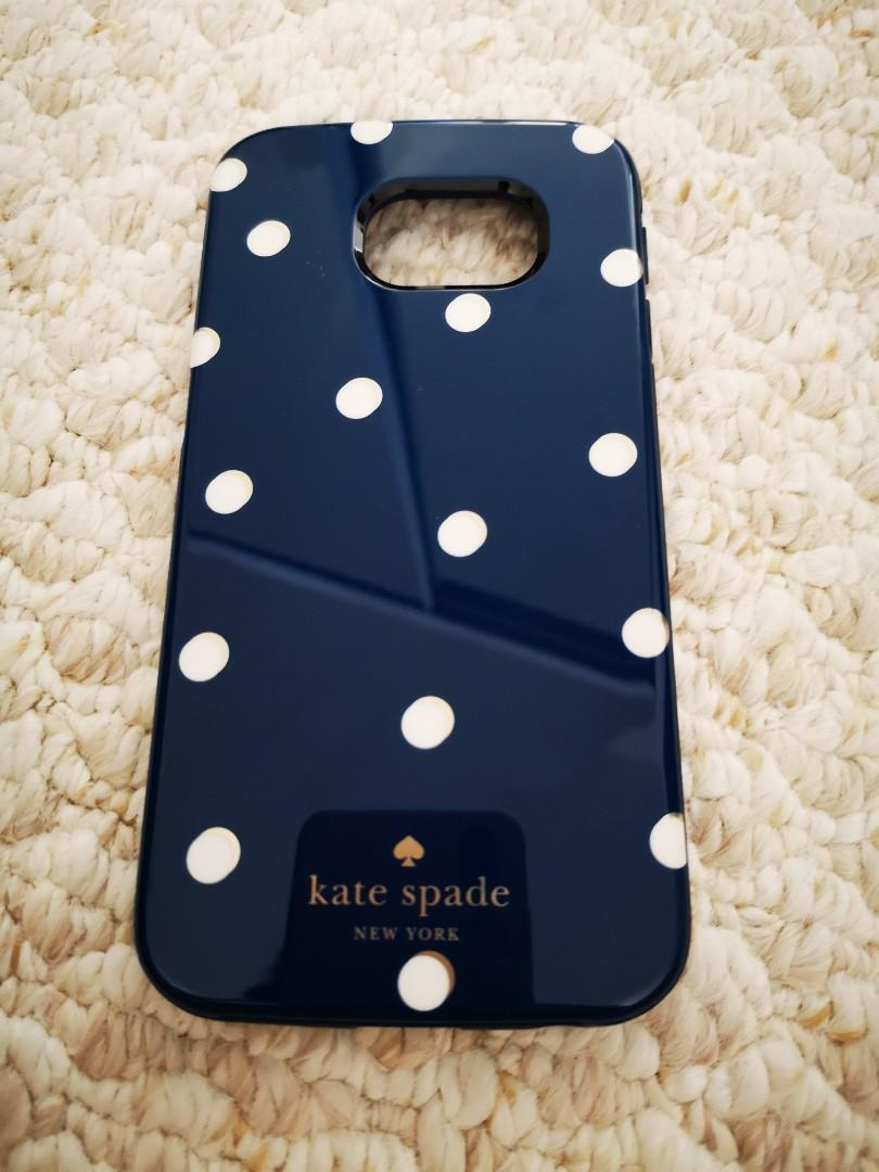 Samsung Galaxy S6 Edge Kate Spade Phone Case - Navy & White Polka Dot Design