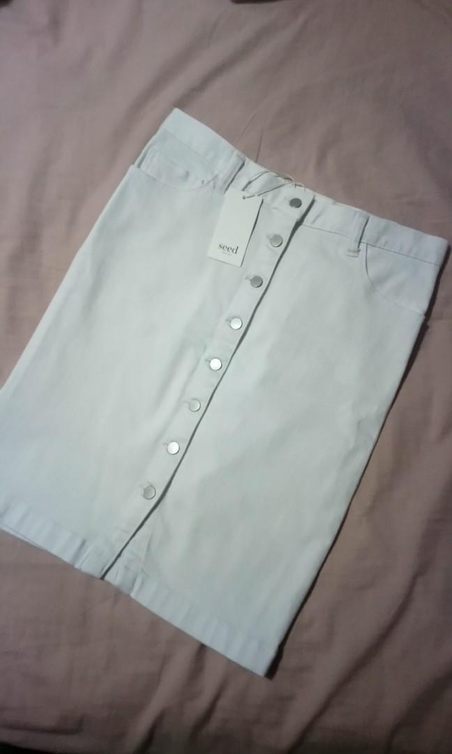 Seed Heritage White Denim Skirt