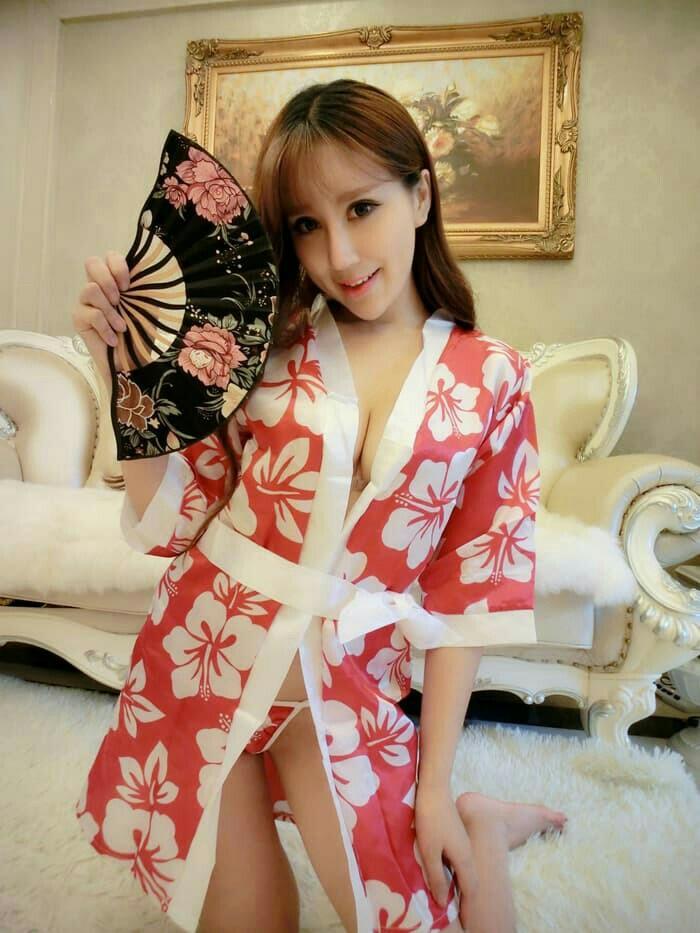 Sexy Baju Tidur Kimono+G String Lingerie pola cetak Bikini A185