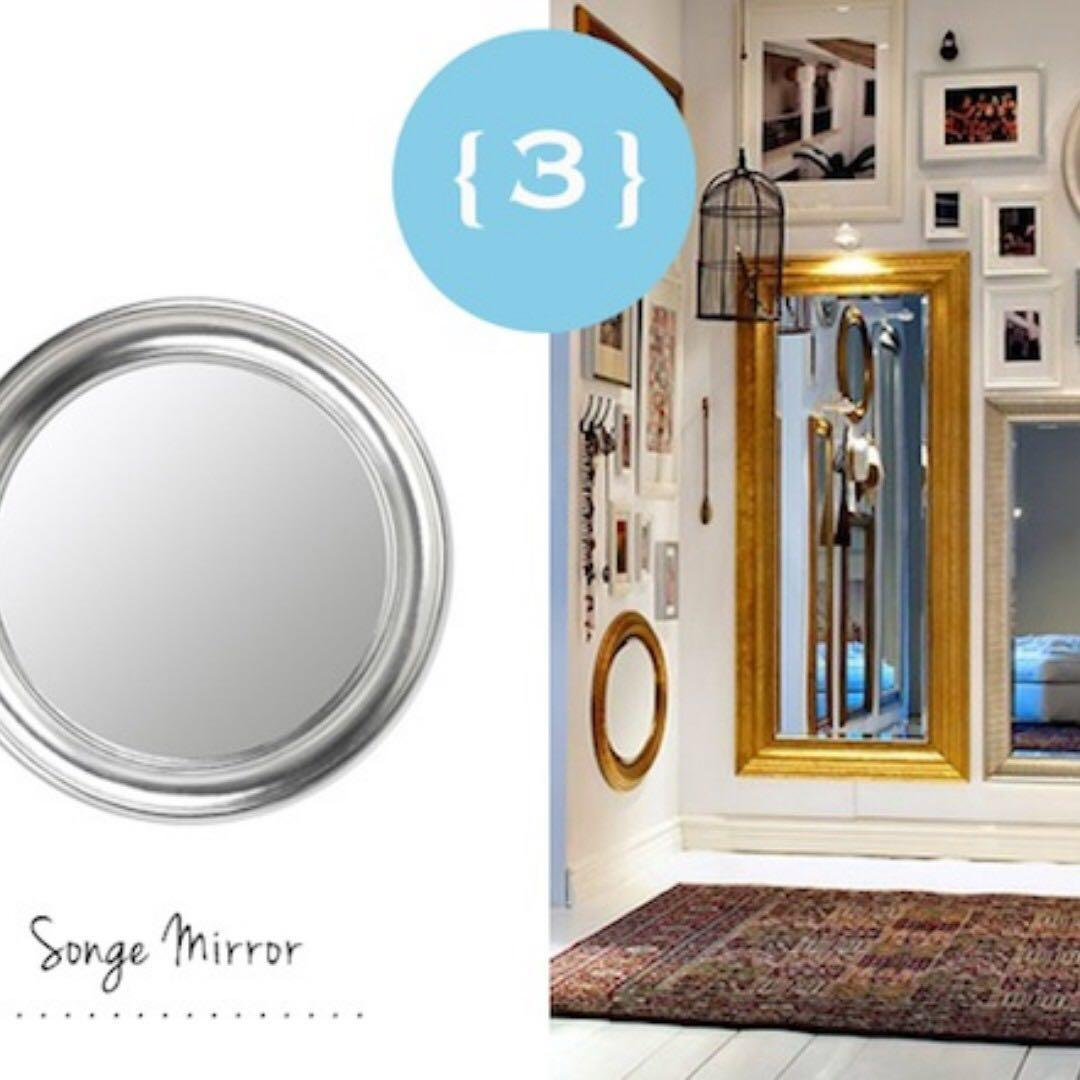 Silver Round Mirror Ikea Songe Discontinued Furniture Home Decor On Carousell