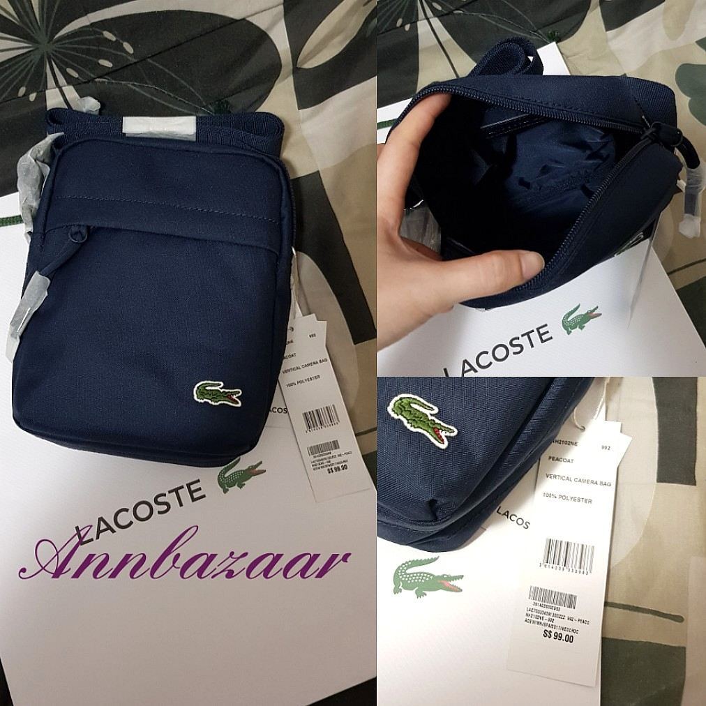 fa62bf0451 SPECIAL OFFER! Lacoste Vertical Camera Nylon Sling Bag- Peacoat ...