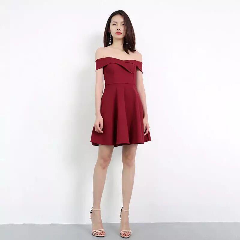 Wine Red Off Shoulder Skater Dress (L) 7c50557e9