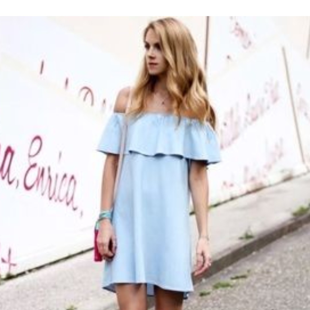 beb557a5ec Zara Off Shoulder Denim Dress