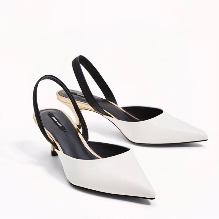2f5d4298f70 Zara White Slingback Mid Kitten Heels