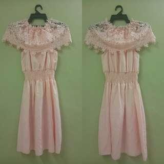 Off shoulder dress(Peach)