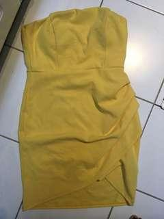 Strapless Yellow women's dress large size