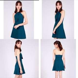 Sale 🙀 Cheris ring necklace halter emerald green mid dress